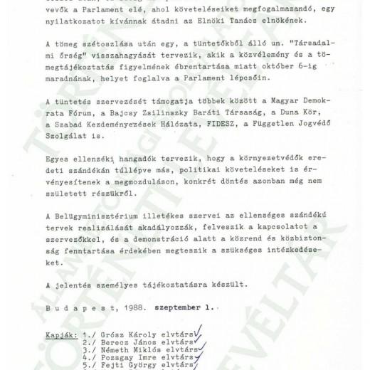 JELENTÉS A TÜNTETÉS SZERVEZÉSÉRŐL 1988.09.01.