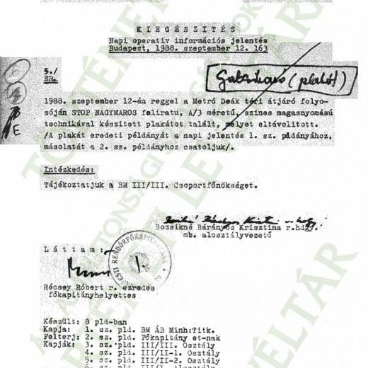 KIEGÉSZÍTŐ JELENTÉS PLAKÁT TERJESZTÉSÉRŐL 1988.09.12.