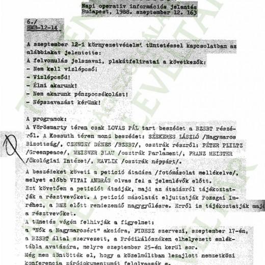 KIEGÉSZÍTŐ JELENTÉS A TERVEZETT TÜNTETÉSRŐL 1988.09.12.